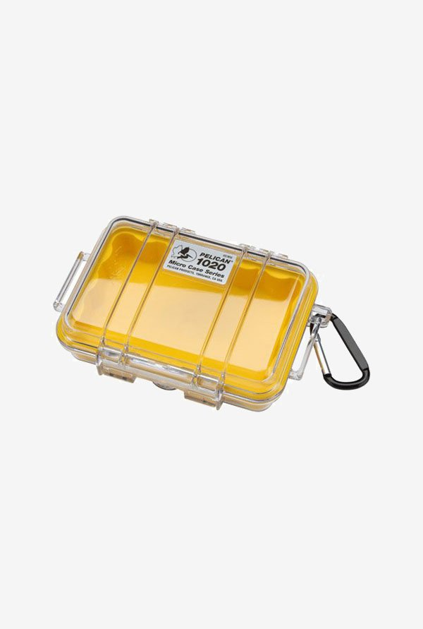 Pelican 1020 Micro Case with Lid and Carabineer (Yellow)