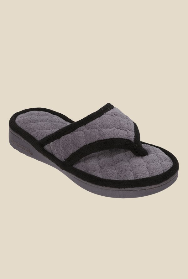 Dearfoams Grey Thong Sandals