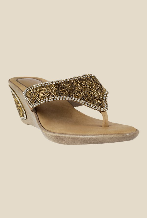 Metro Antique Gold Wedge Heeled Thong Sandals