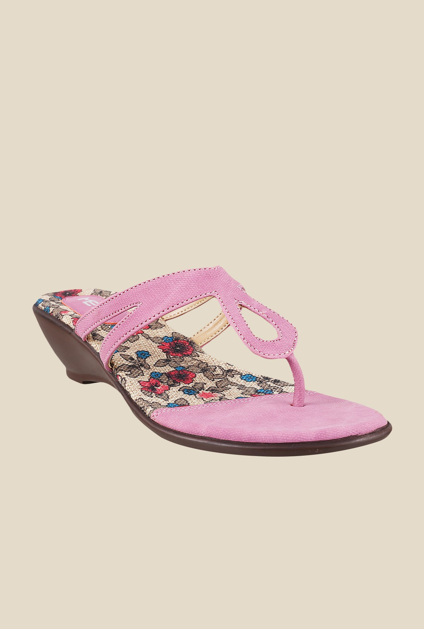Metro Pink Wedge Heeled Thong Sandals