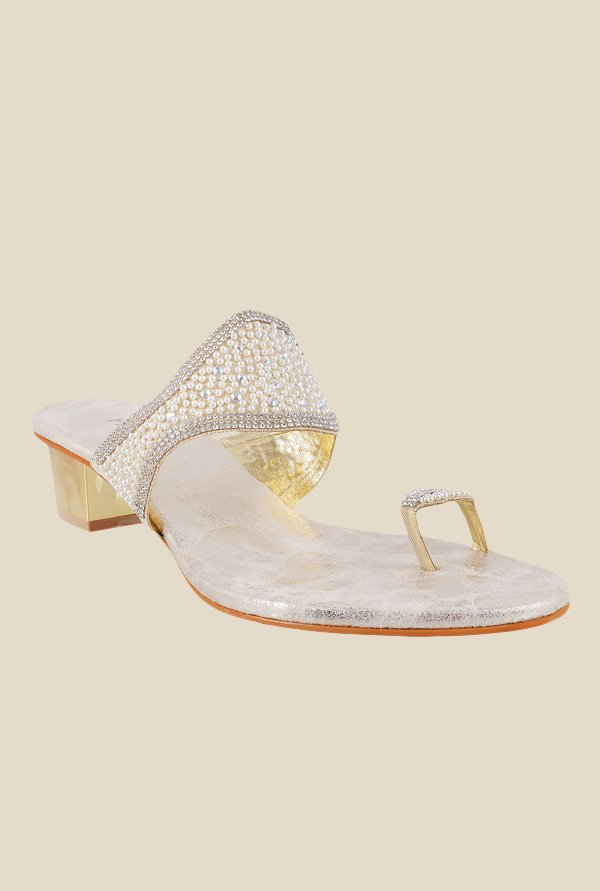 Metro Golden & Silver Toe Ring Sandals