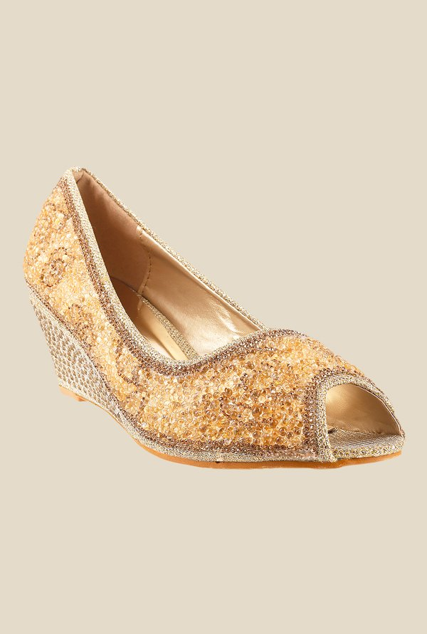 Metro Golden Peeptoe Wedges
