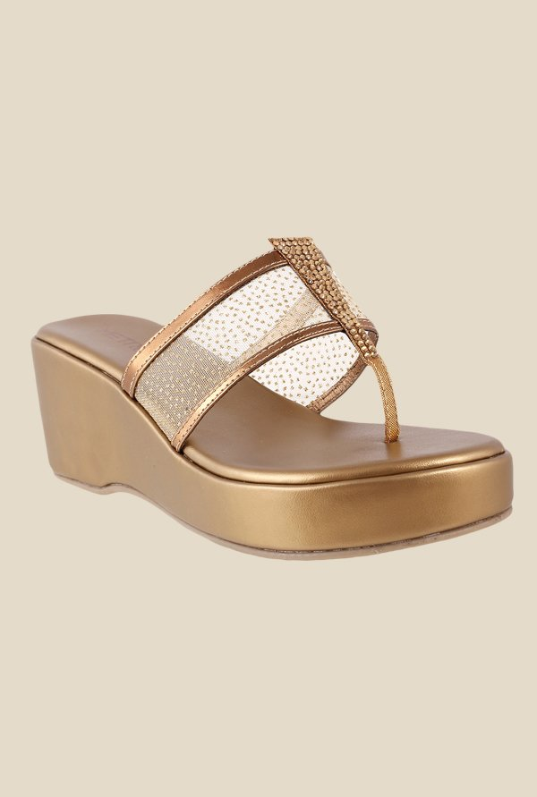 Metro Antique Gold T-Strap Wedges
