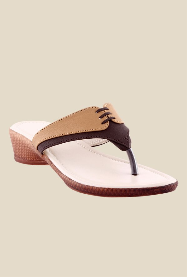 Kielz Beige & Brown Wedge Heeled Thong Sandals