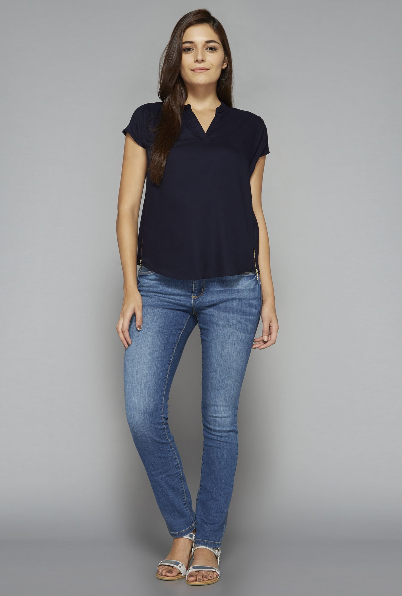 LOV by Westside Navy Pluto Blouse