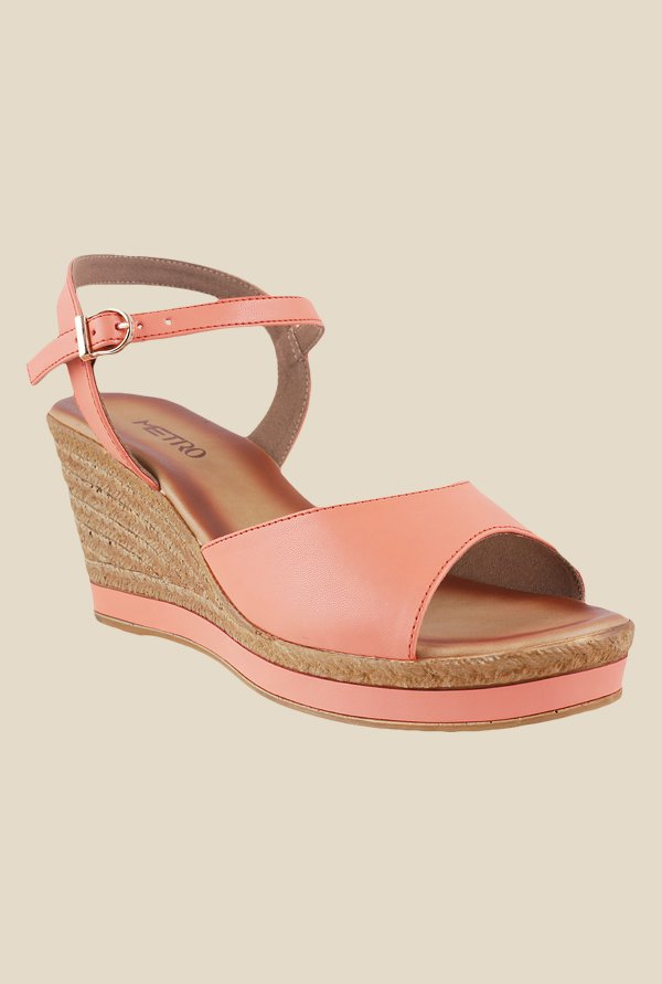 Metro Peach Ankle Strap Wedges