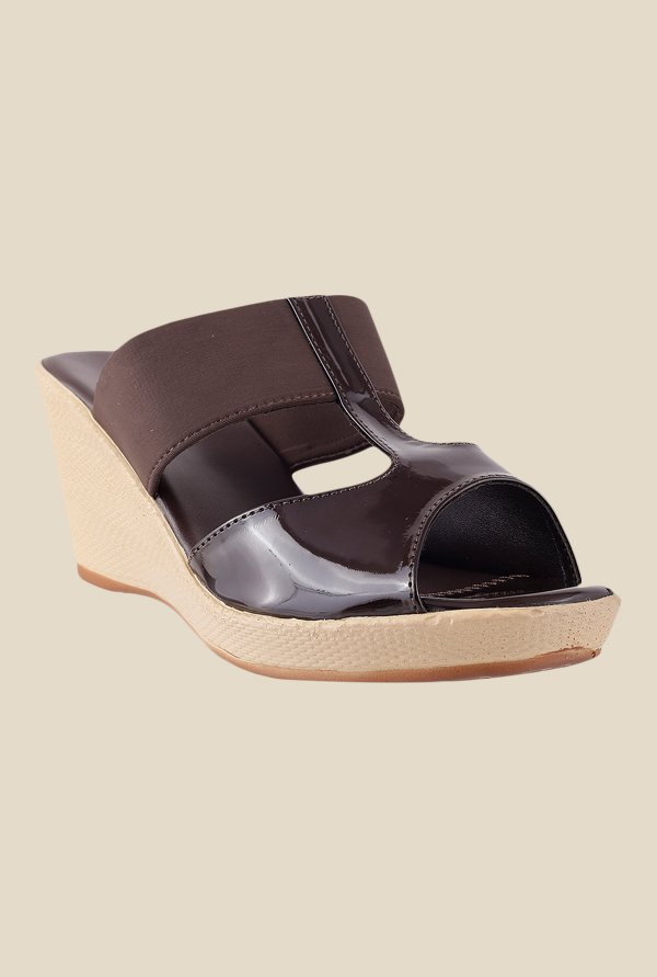 Metro Dark Brown Wedge Heeled Sandals