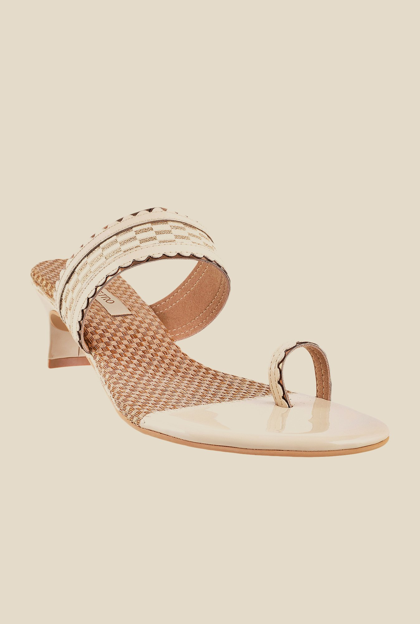 Metro Beige & Golden Toe Ring Sandals