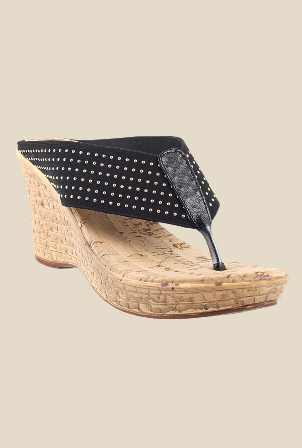 Metro Black & Golden Wedge Heeled Thong Sandals