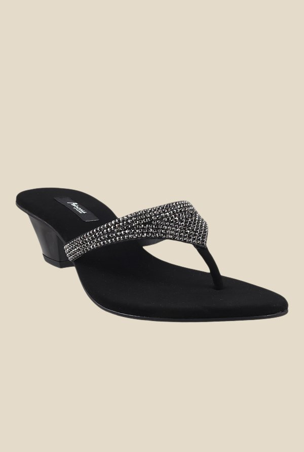 Princess by Metro Black & Silver Thong Sandals