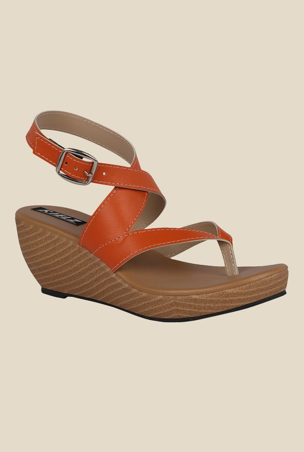 Kielz Orange Cross Strap Wedges