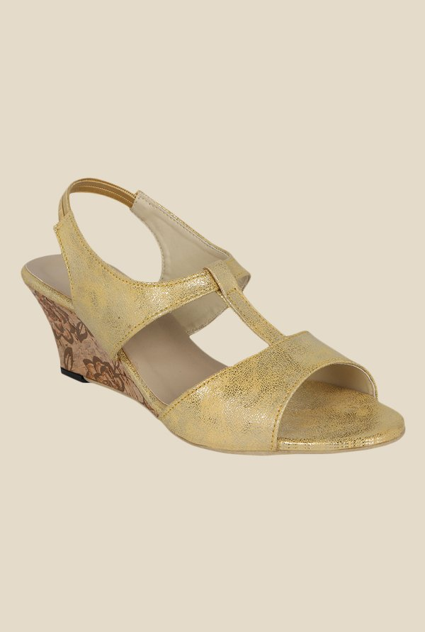 Kielz Golden Sling Back Wedges