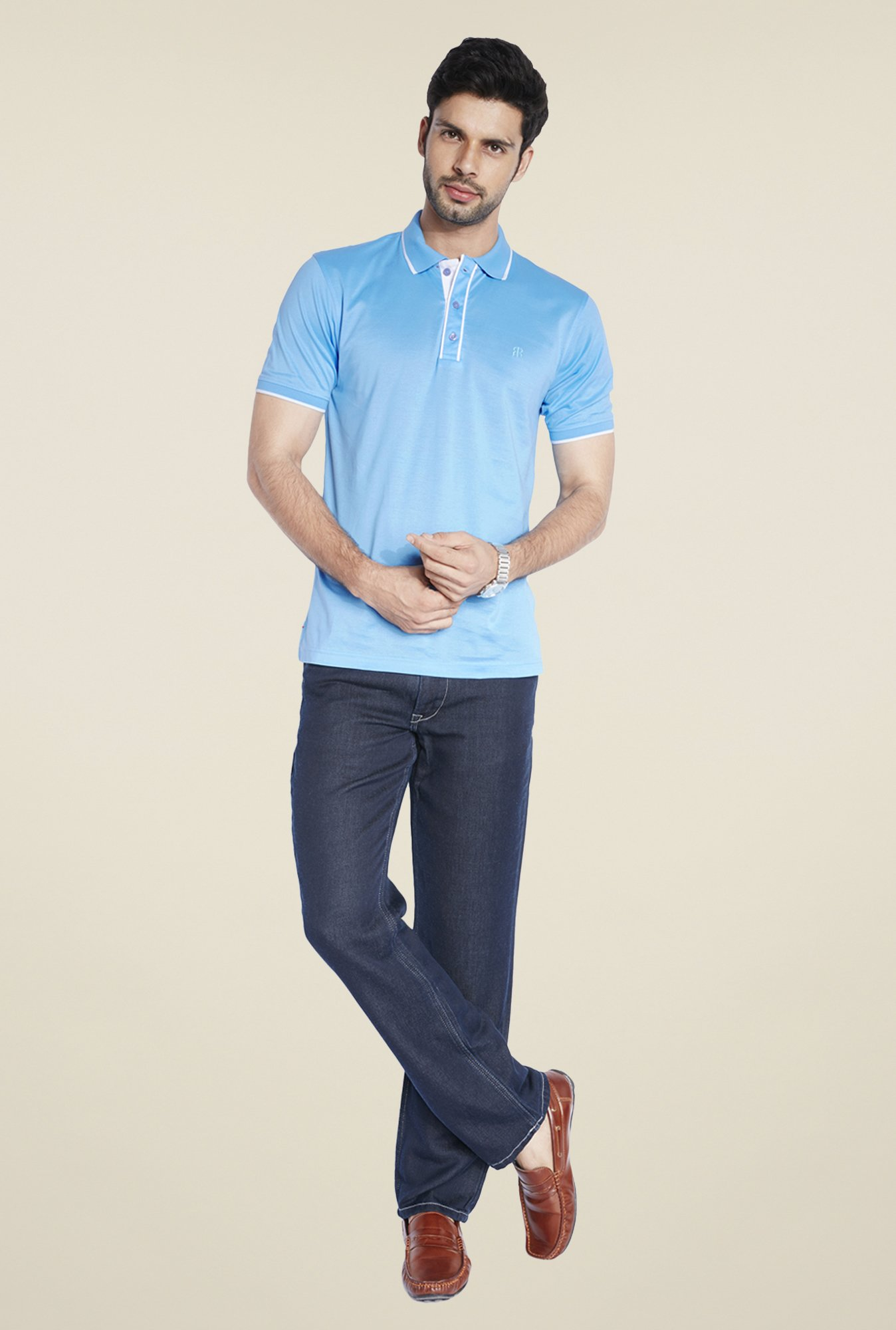 Raymond Blue Solid Slim Fit T Shirt
