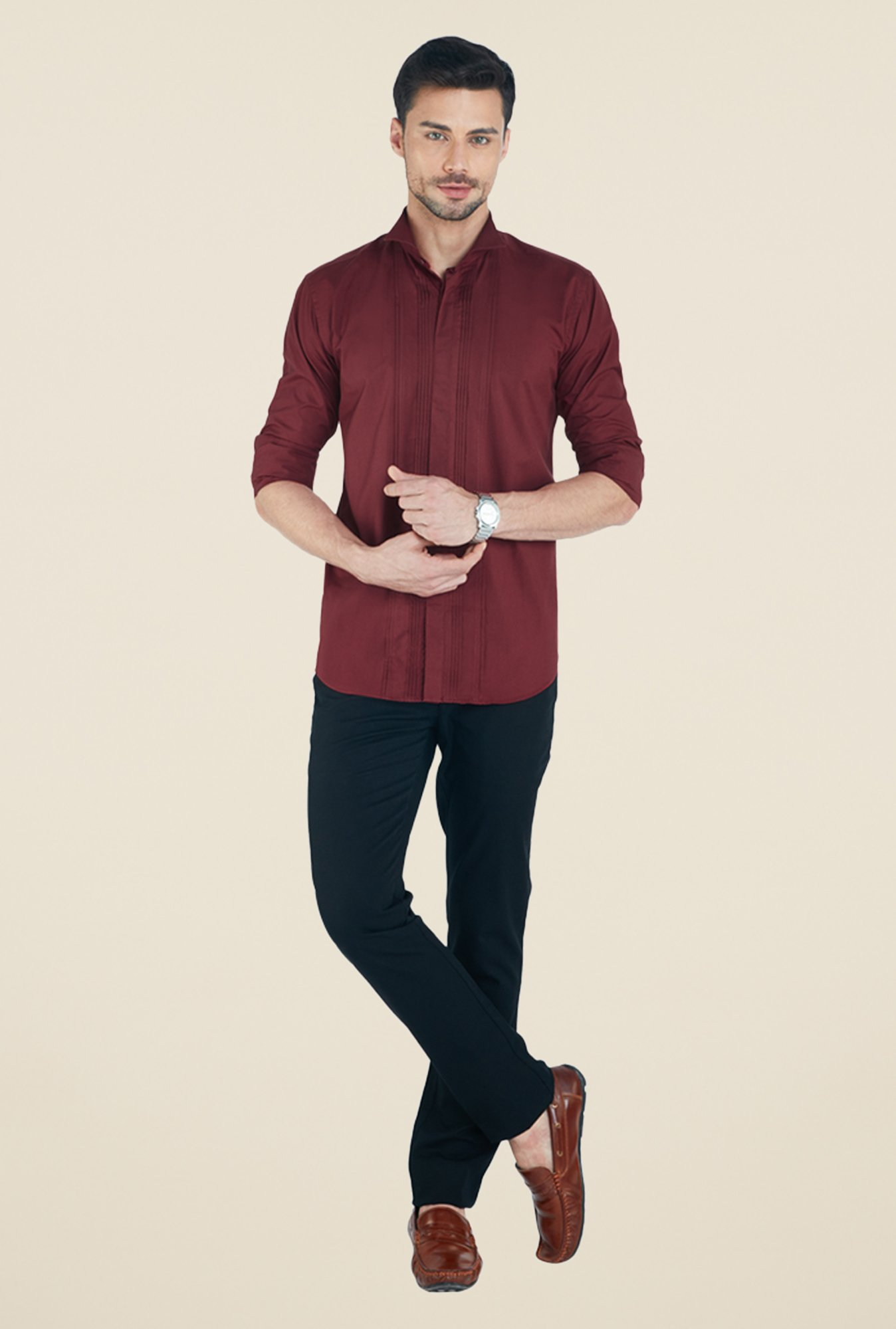 Park Avenue Maroon Solid Shirt
