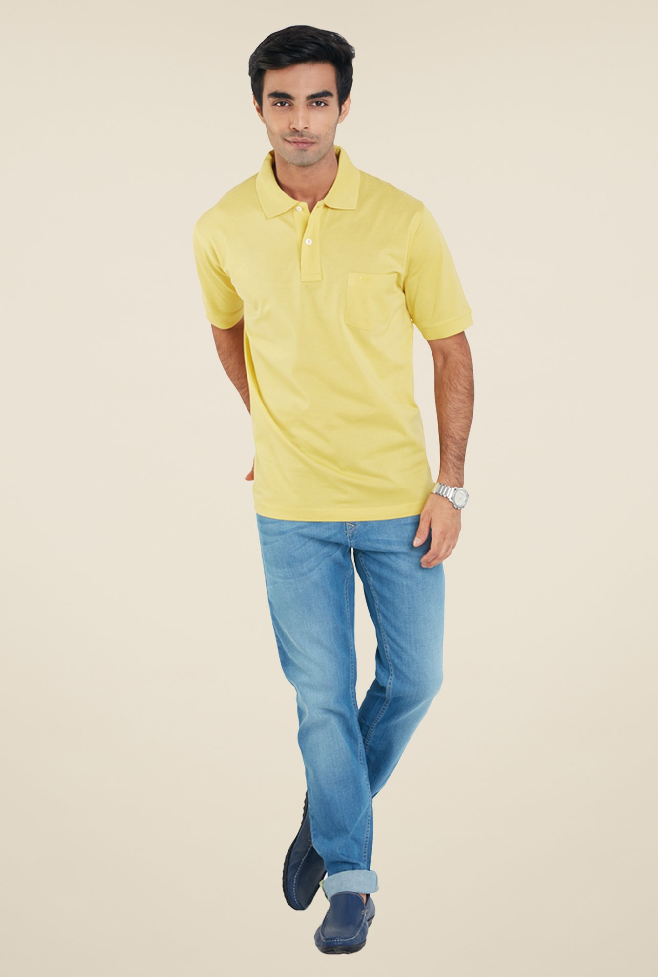 ColorPlus Yellow Solid Cotton T Shirt