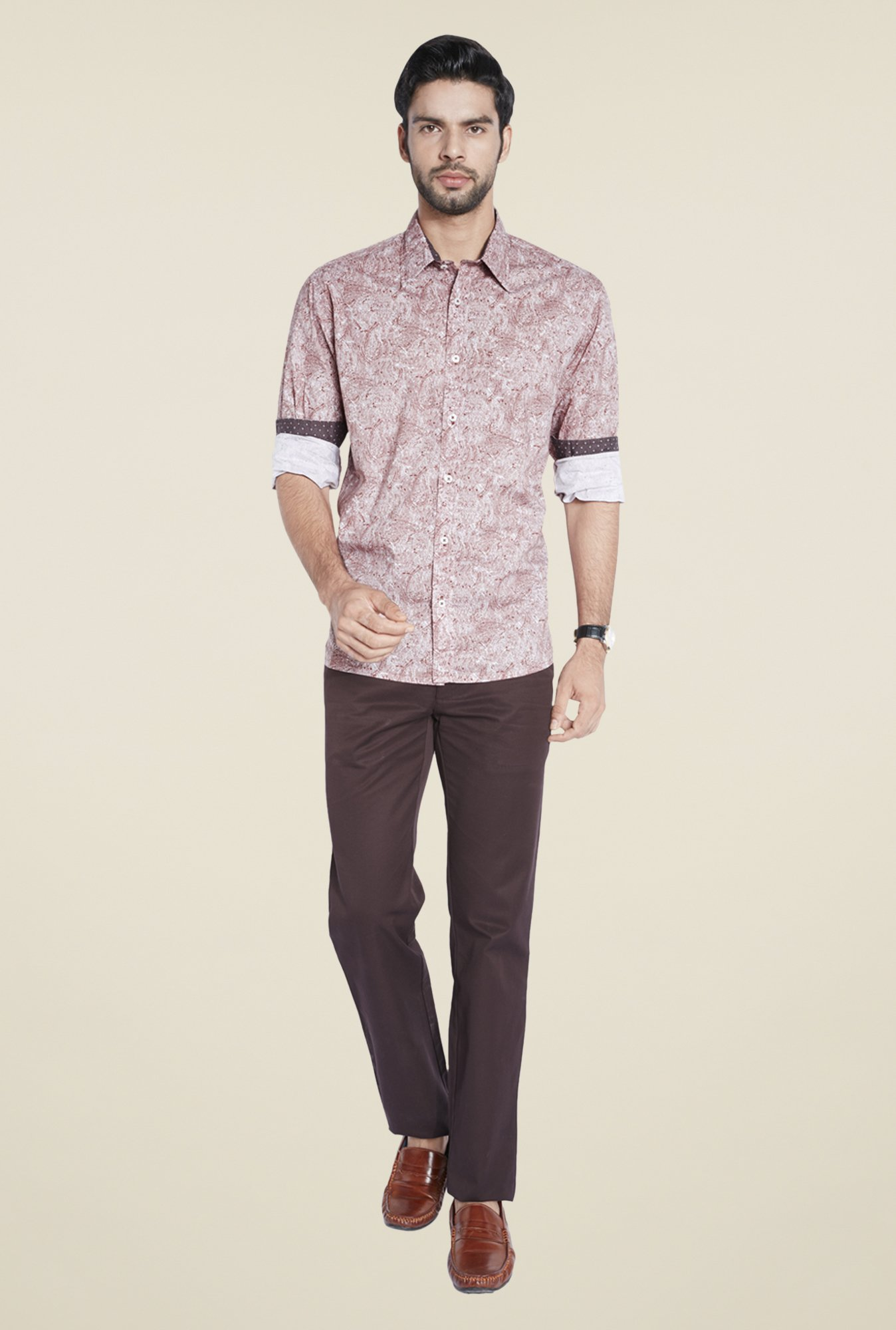 ColorPlus Maroon Printed Shirt