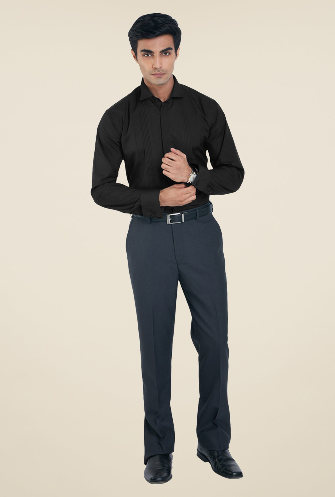 Park Avenue Black Solid Shirt