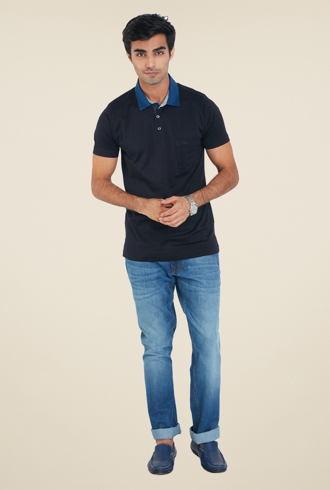 ColorPlus Navy Solid T Shirt