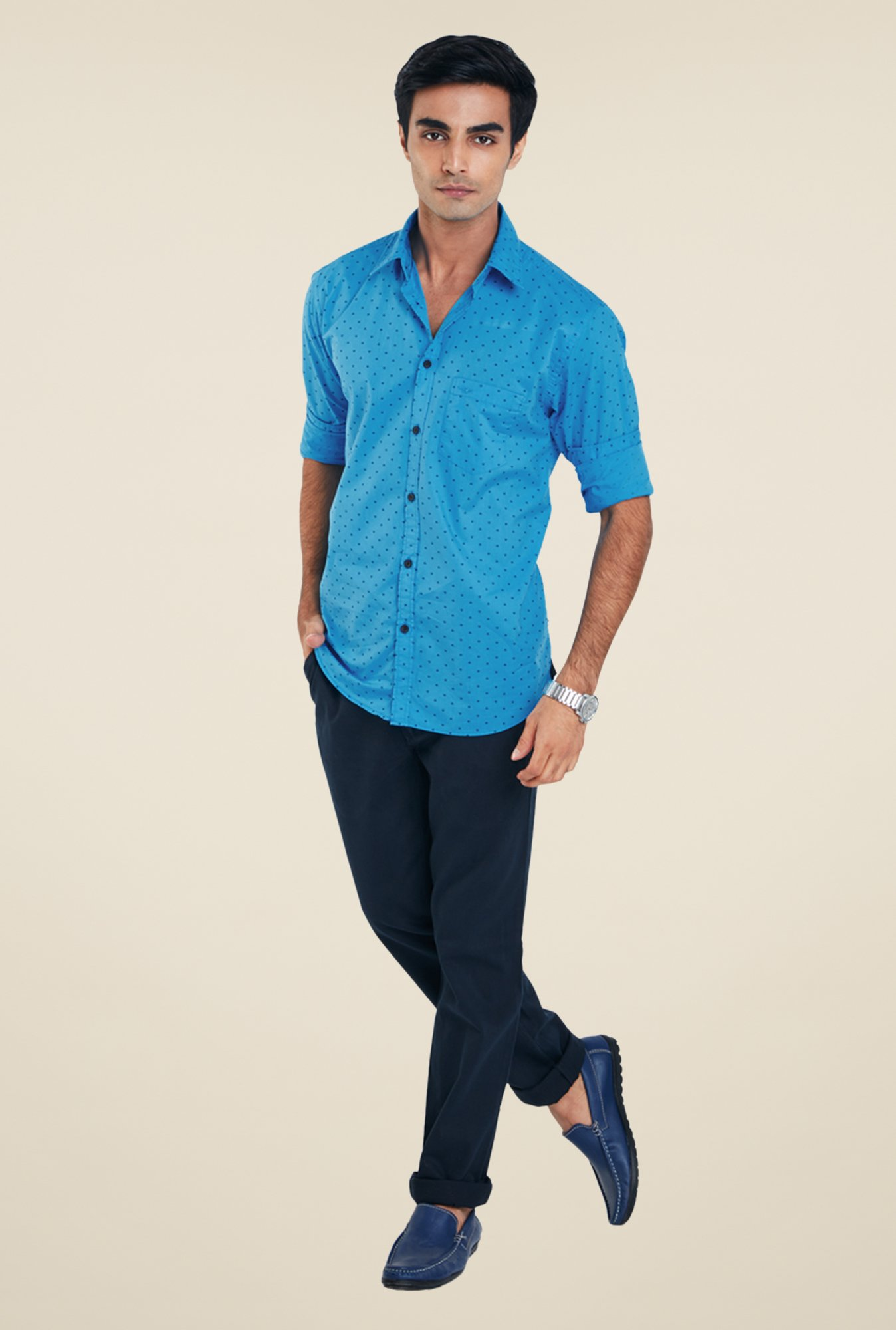 Park Avenue Blue Printed Shirt