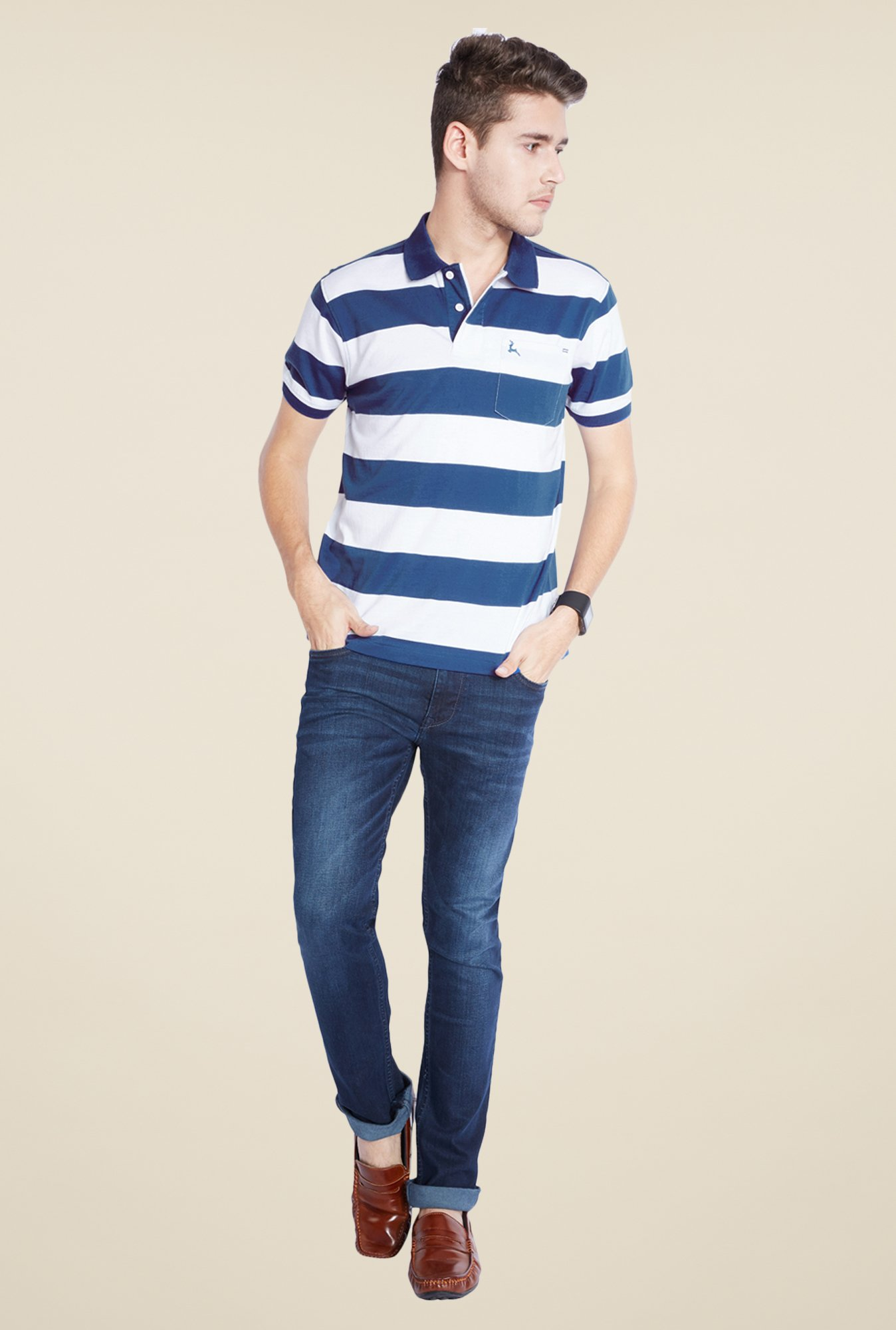 Parx Blue & White Striped T Shirt