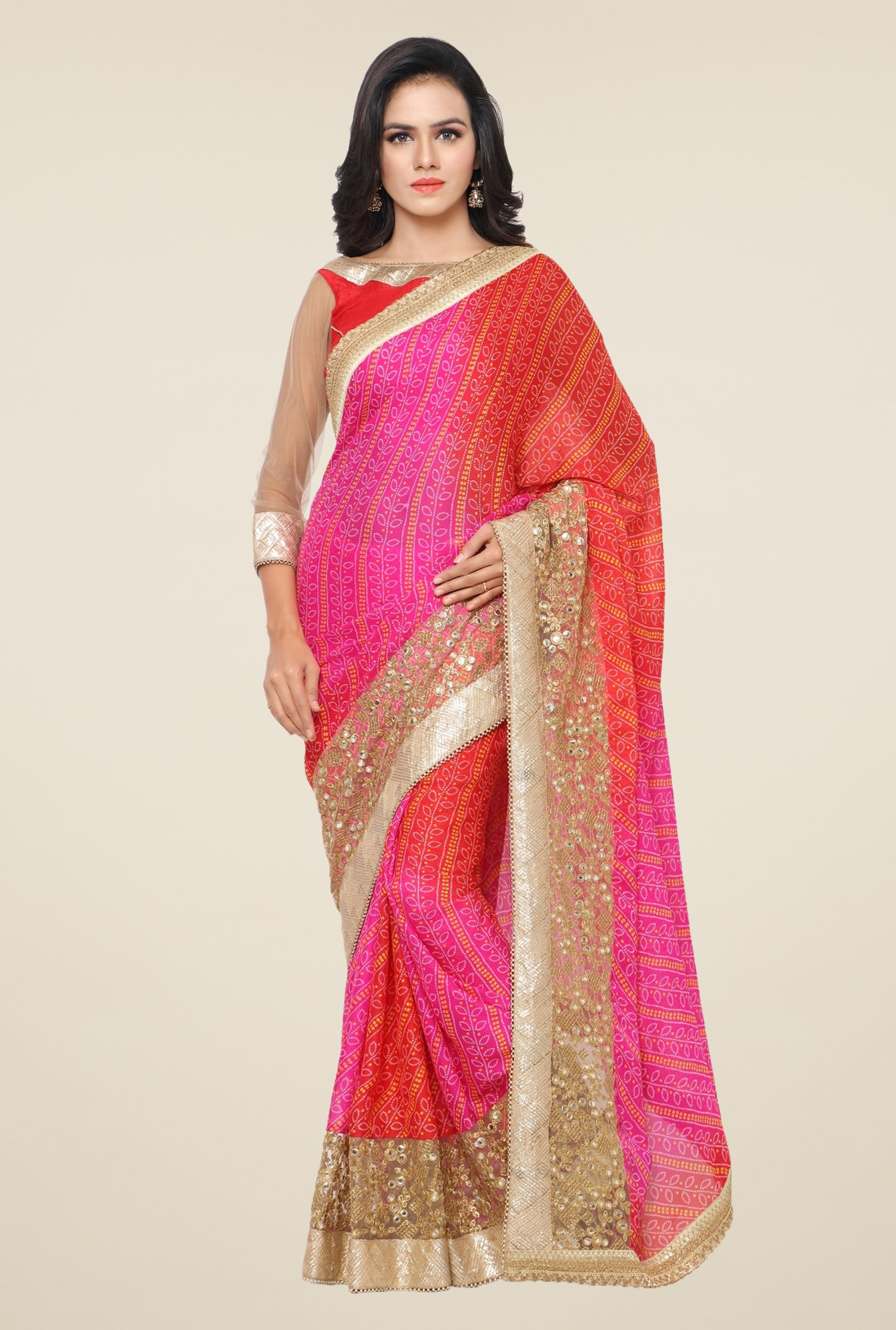 Triveni Multicolor Embellished Faux Georgette Saree