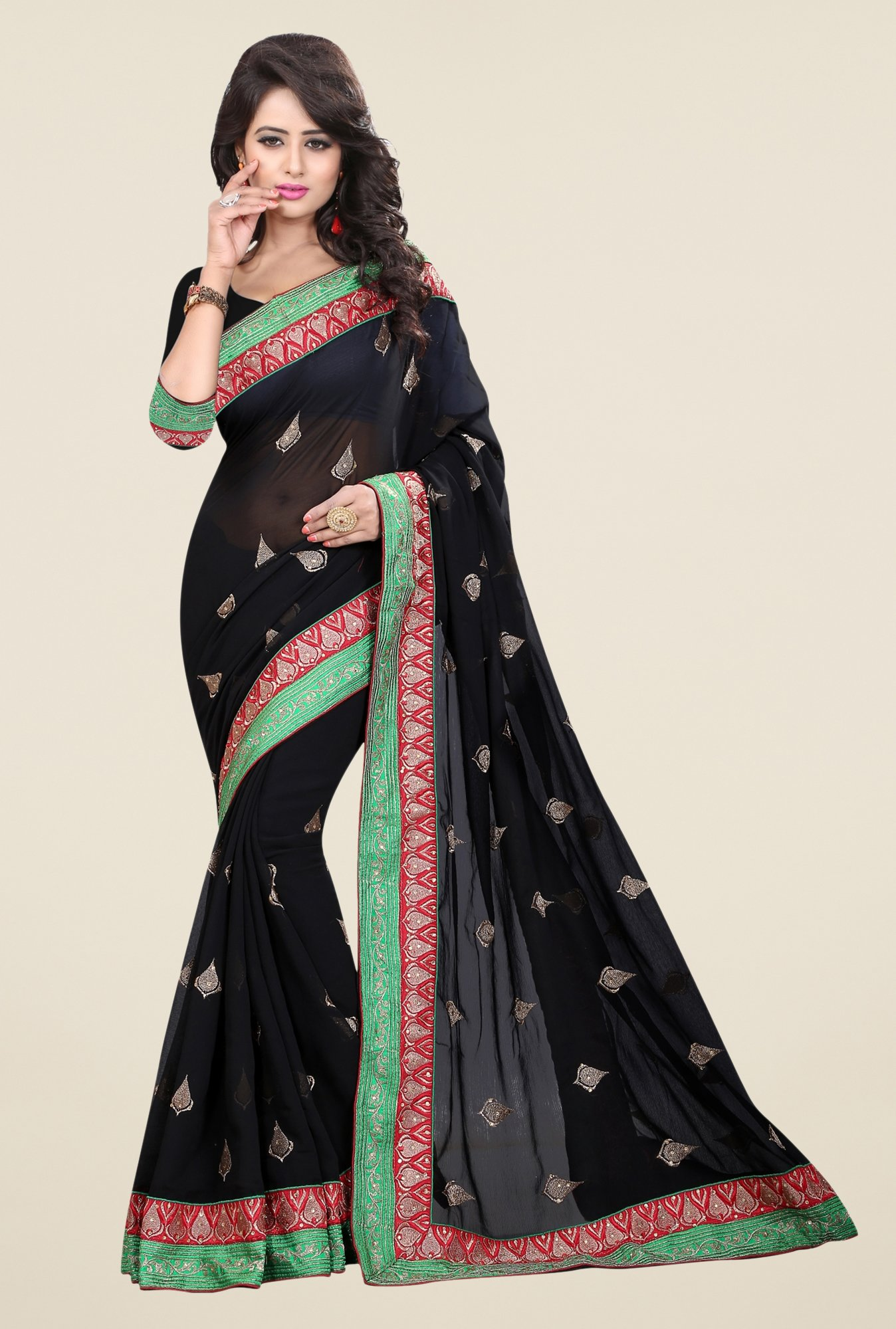Triveni Black Embroidered Chiffon Saree