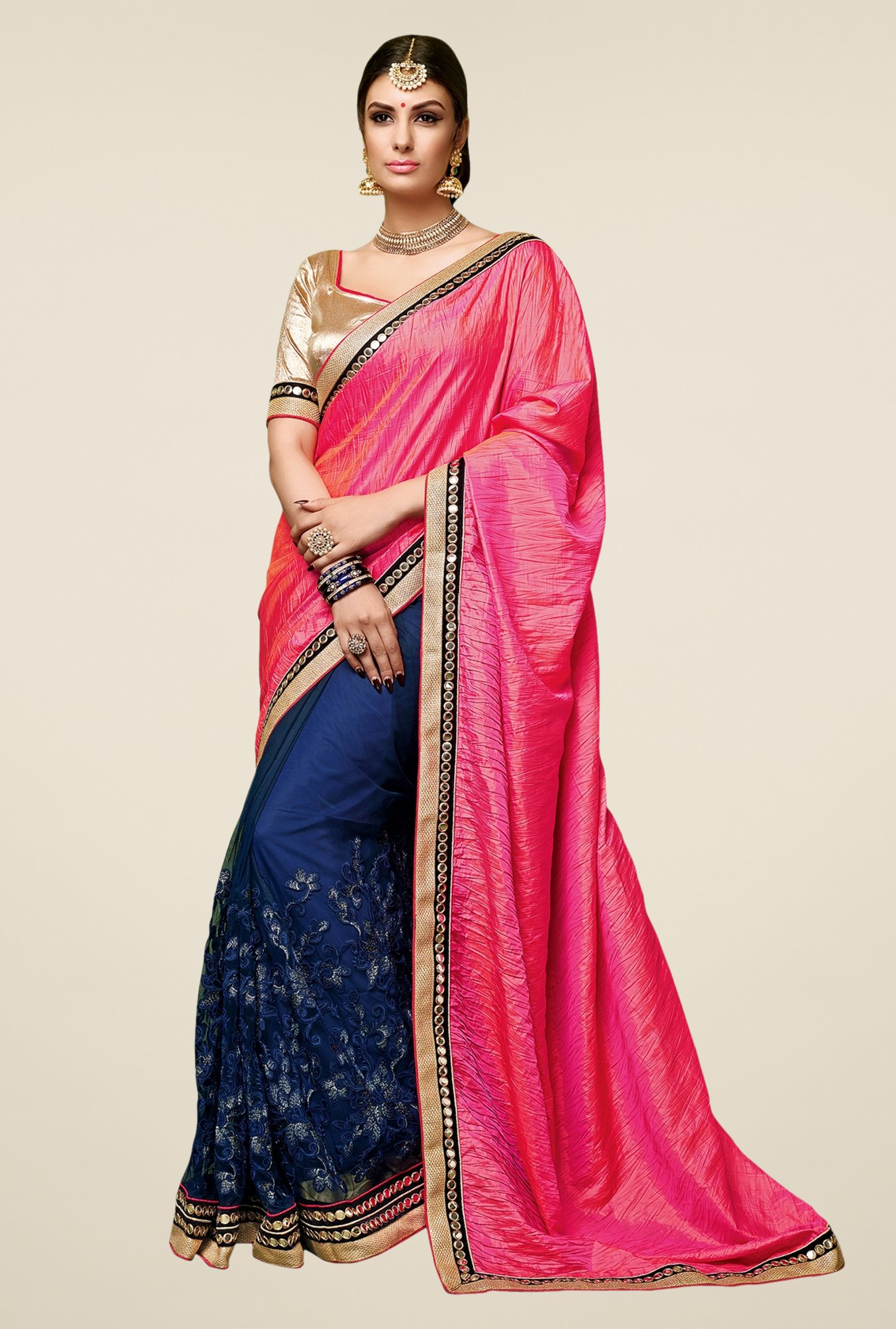 Triveni Blue & Pink Embroidered Satin Net Saree