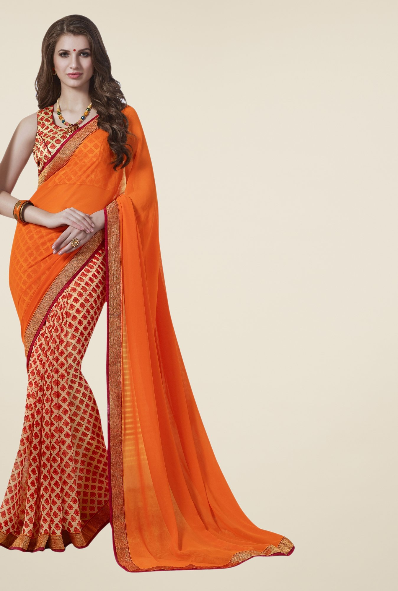 Triveni Red & Orange Printed Faux Georgette Saree