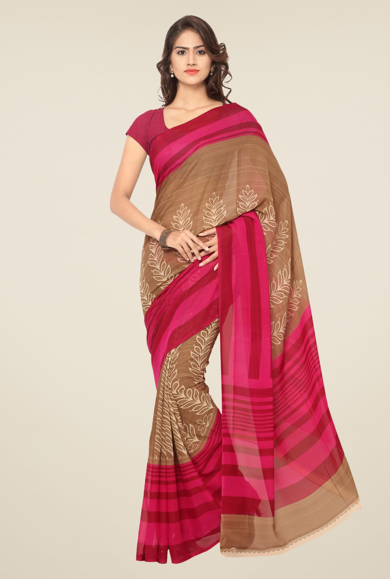 Triveni Brown & Pink Printed Art Silk Saree