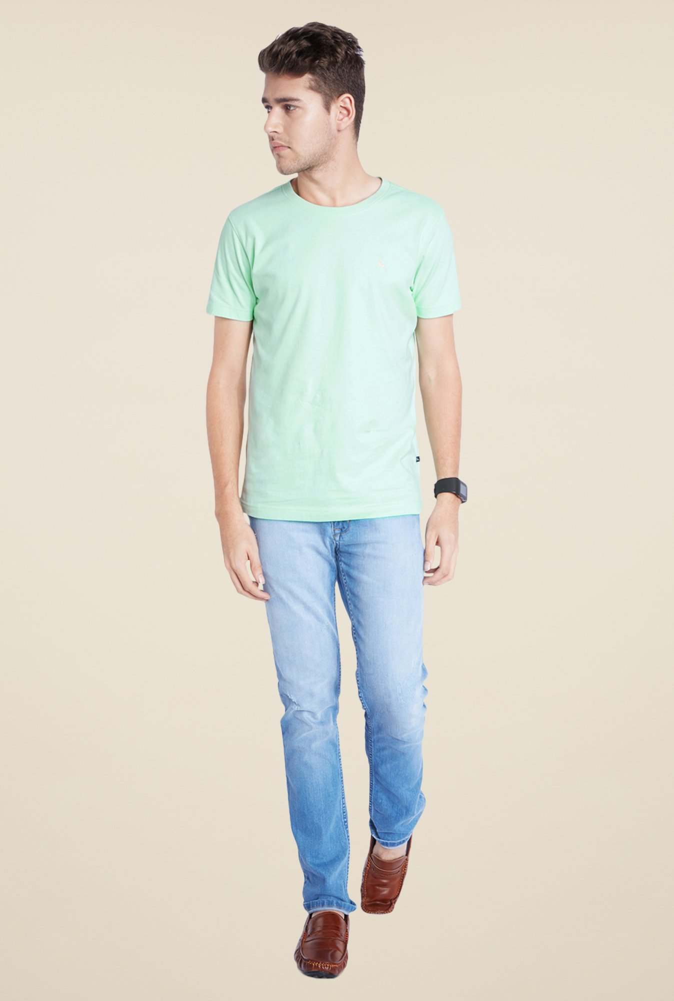 Parx Green Solid T Shirt