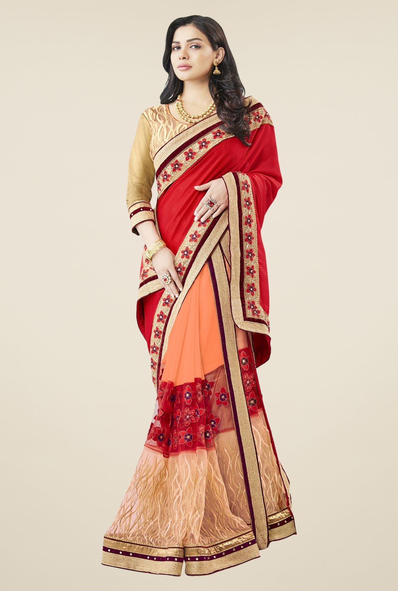 Triveni Orange & Red Embroidered Faux Georgette Saree