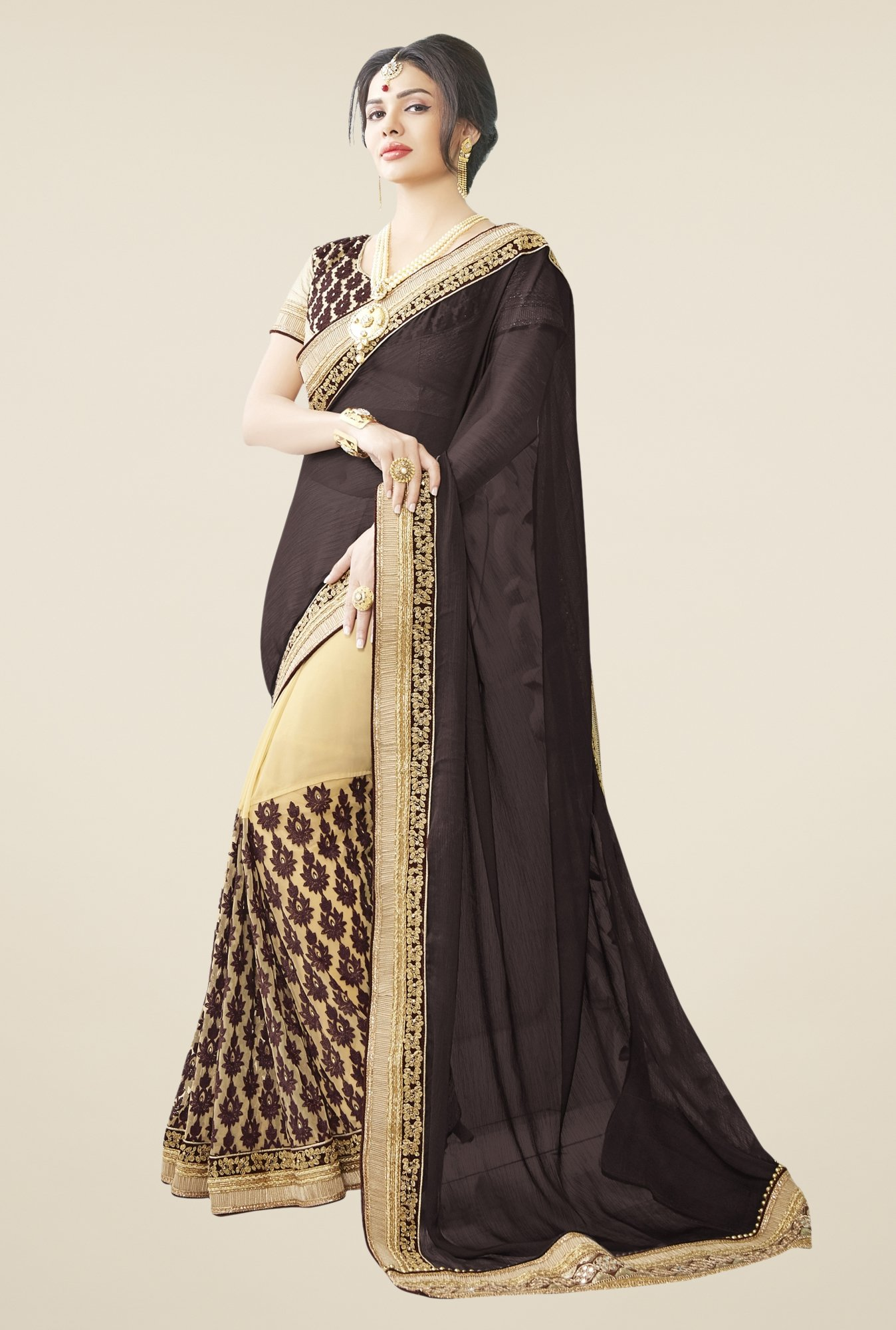 Triveni Beige & Black Embroidered Faux Georgette Saree