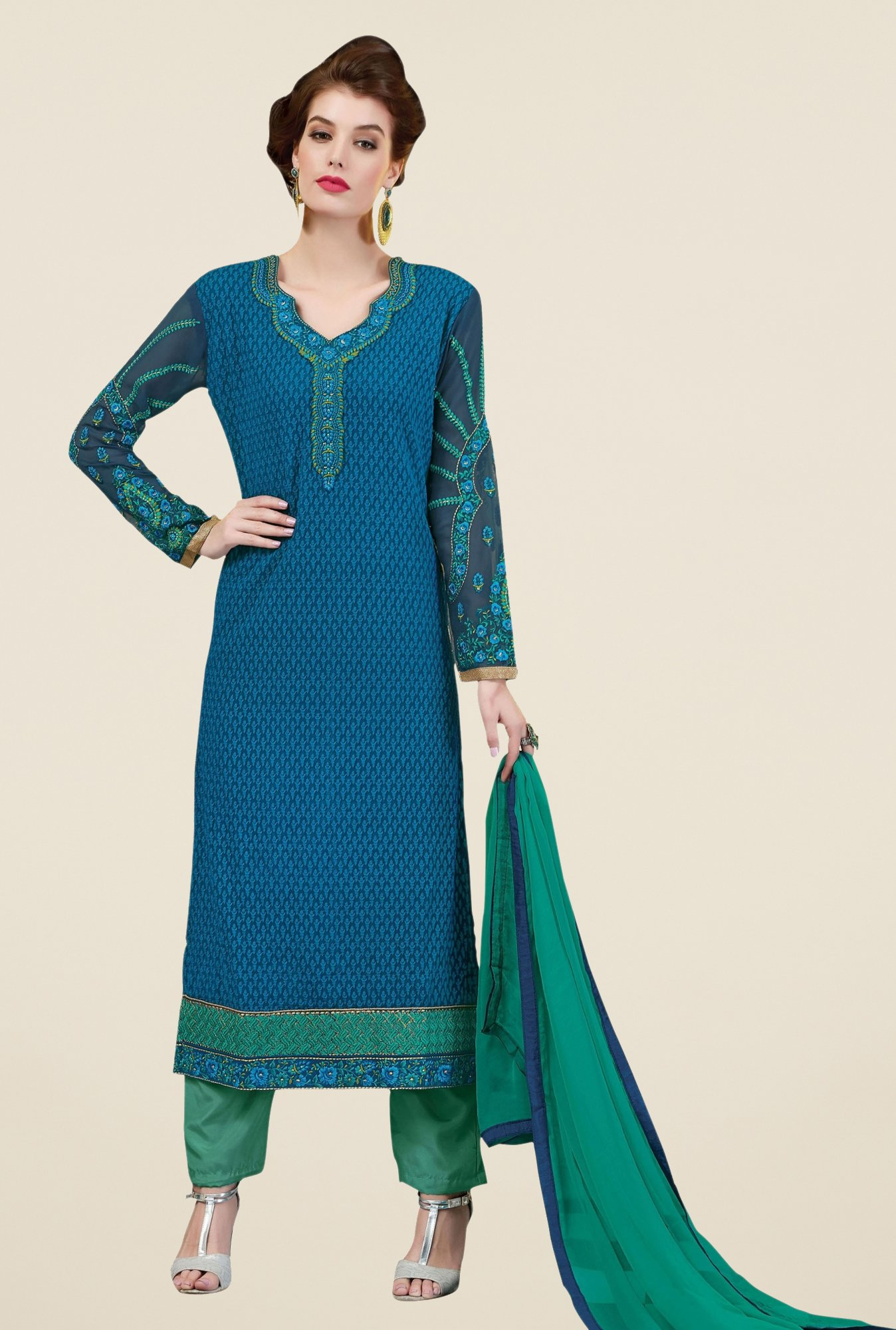 Triveni Striking Blue & Teal Faux Georgette Dress Material