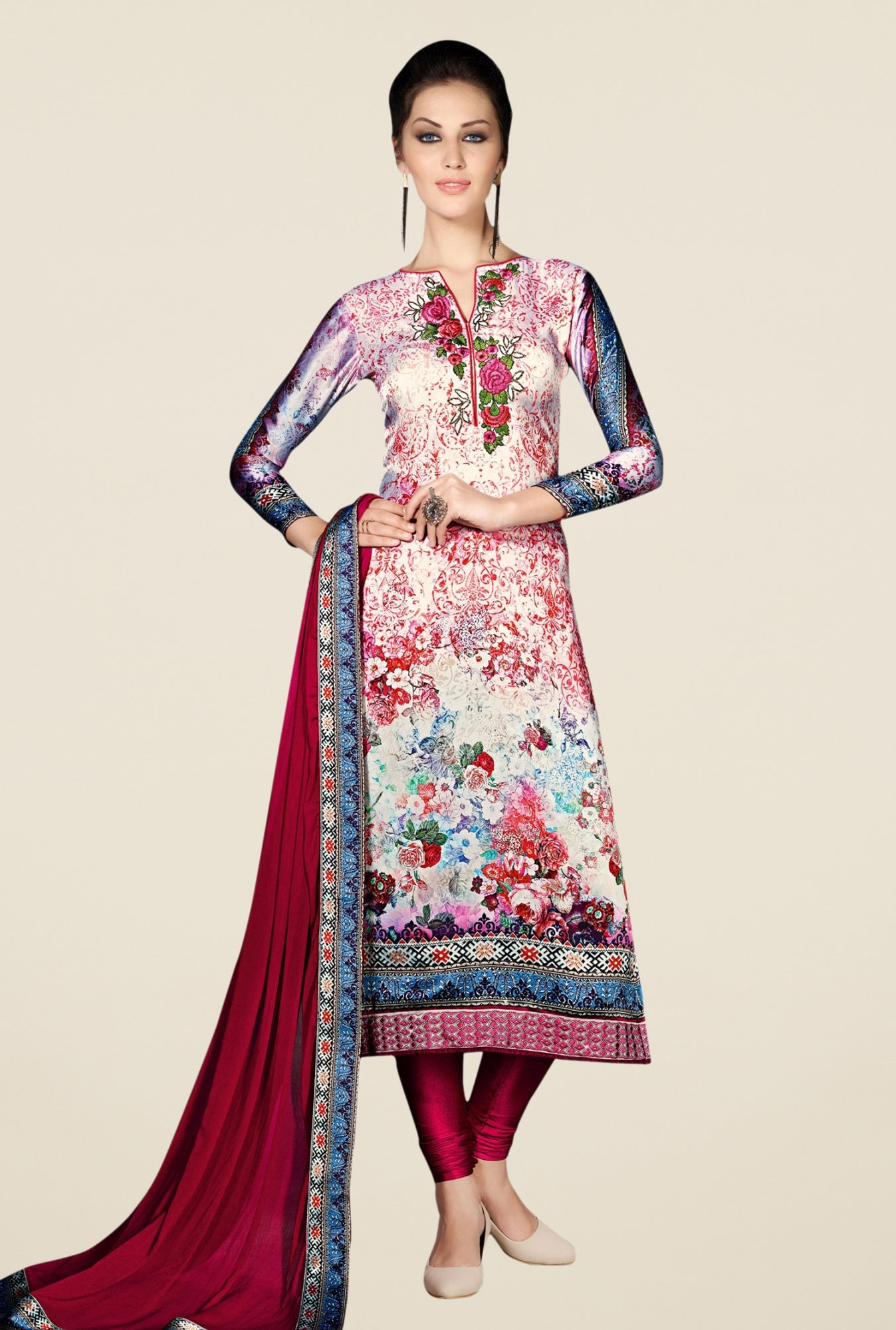 Triveni Charming Multicolor Satin Crepe Dress Material