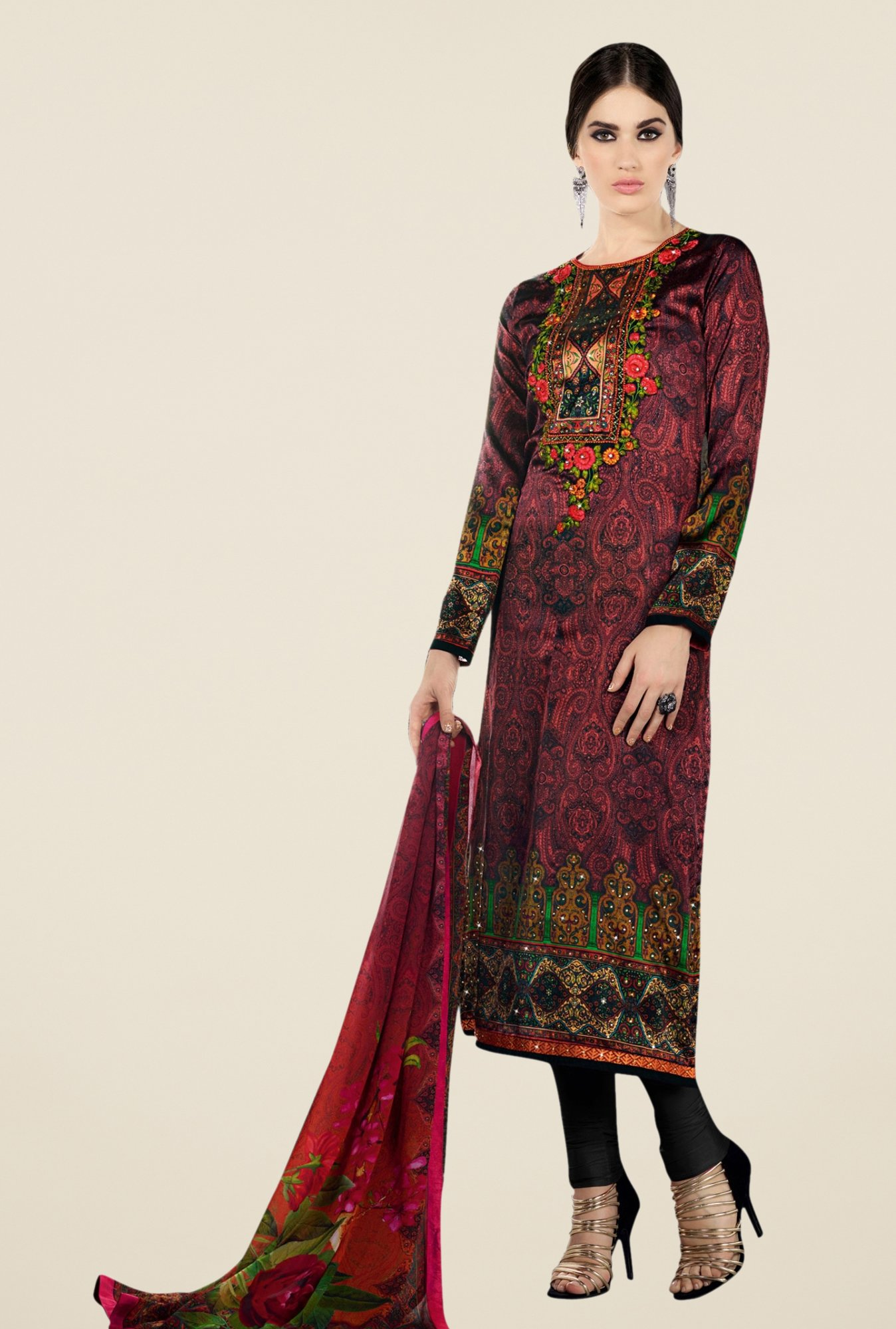 Triveni Lovely Maroon & Black Satin Crepe Dress Material