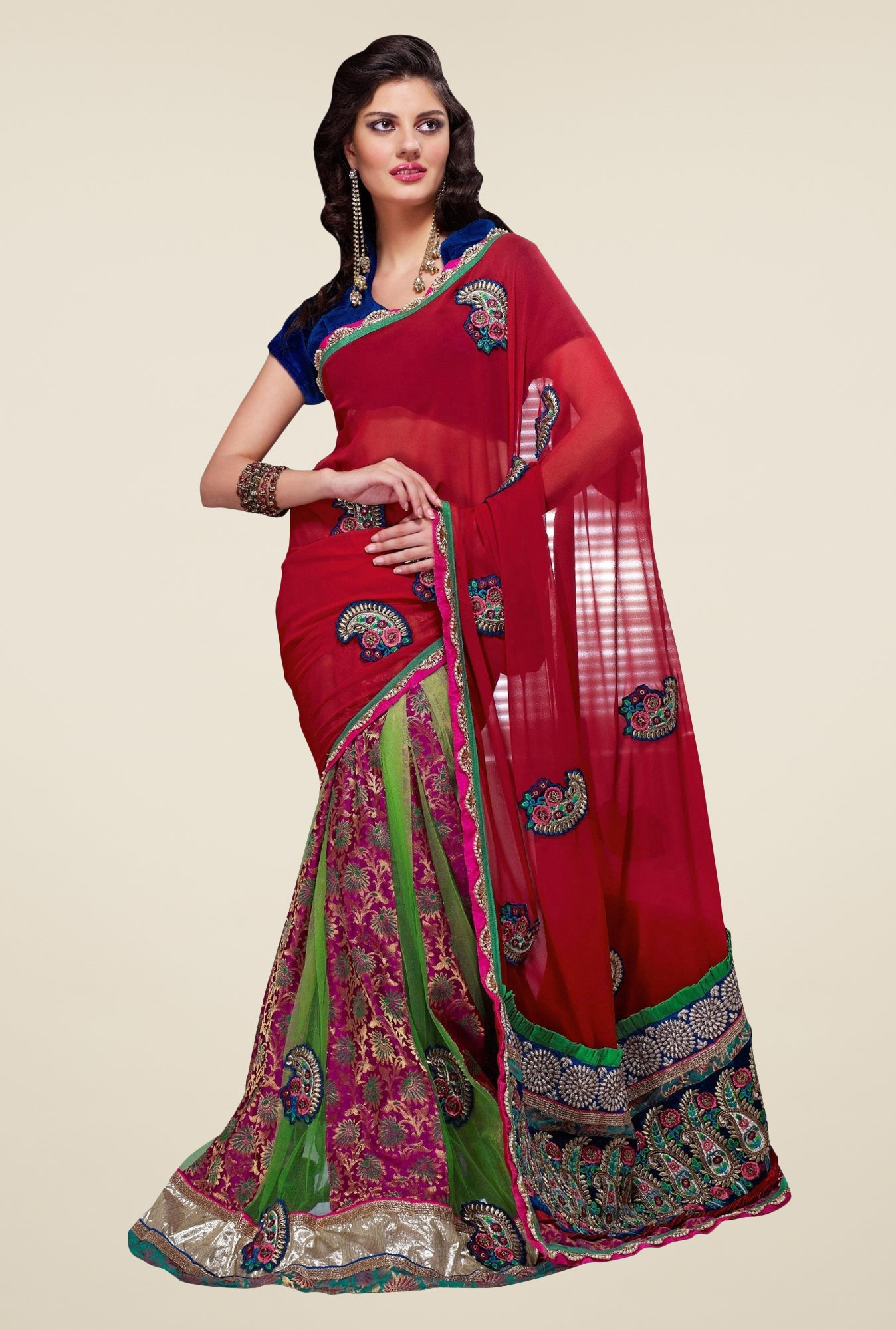 Triveni Spectacular Multicolor Georgette Net Lehenga Saree