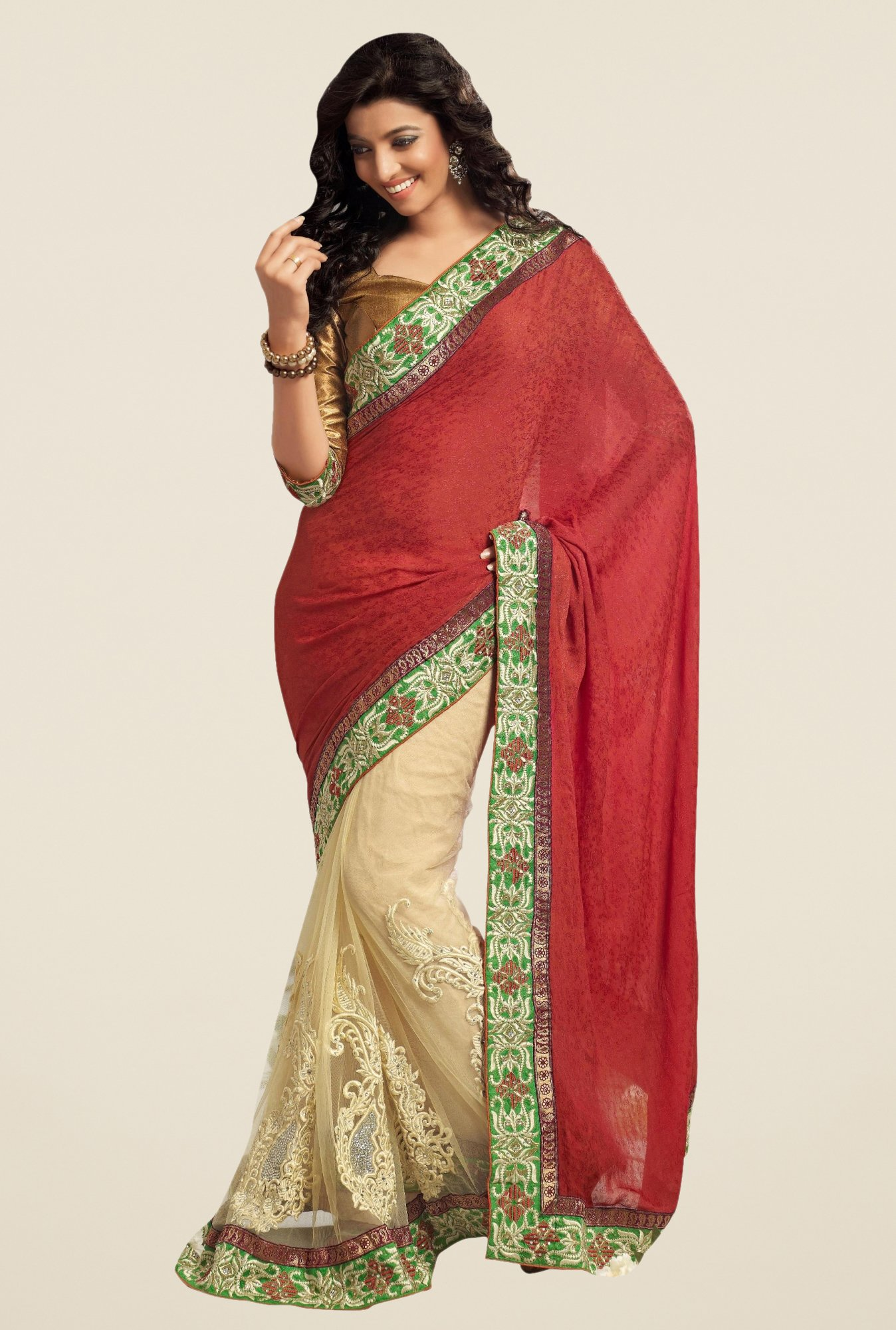 Triveni Luxurious Beige & Maroon Crape Net Saree