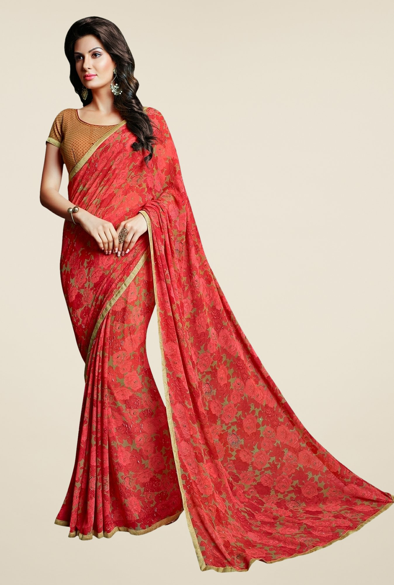 Triveni Striking Red Faux Georgette Saree