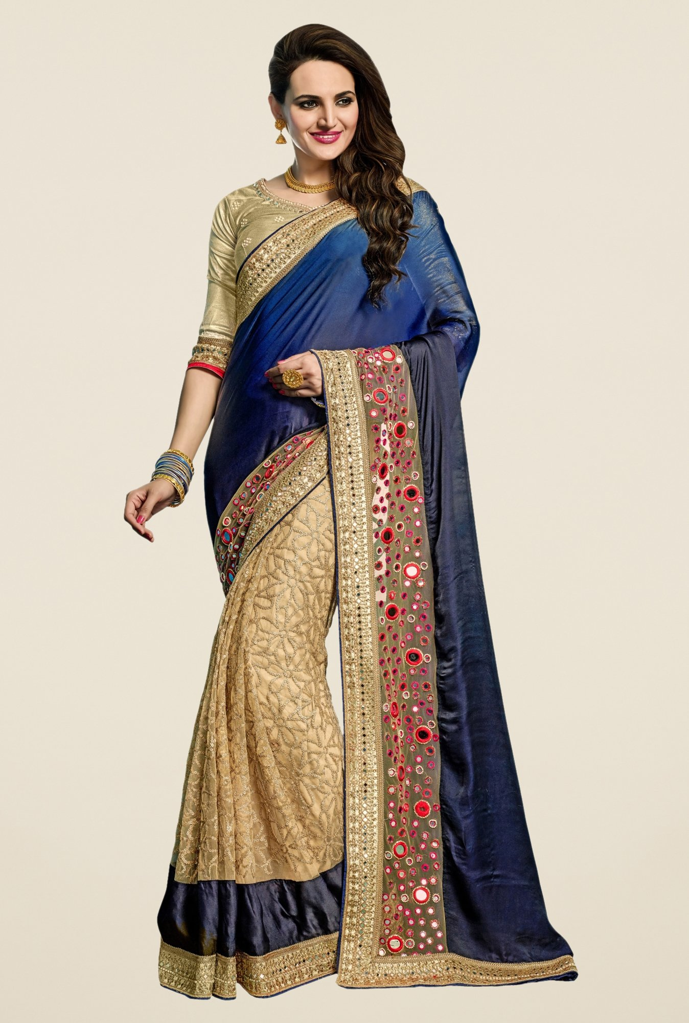 Triveni Sophisticated Beige & Navy Georgette Net Saree