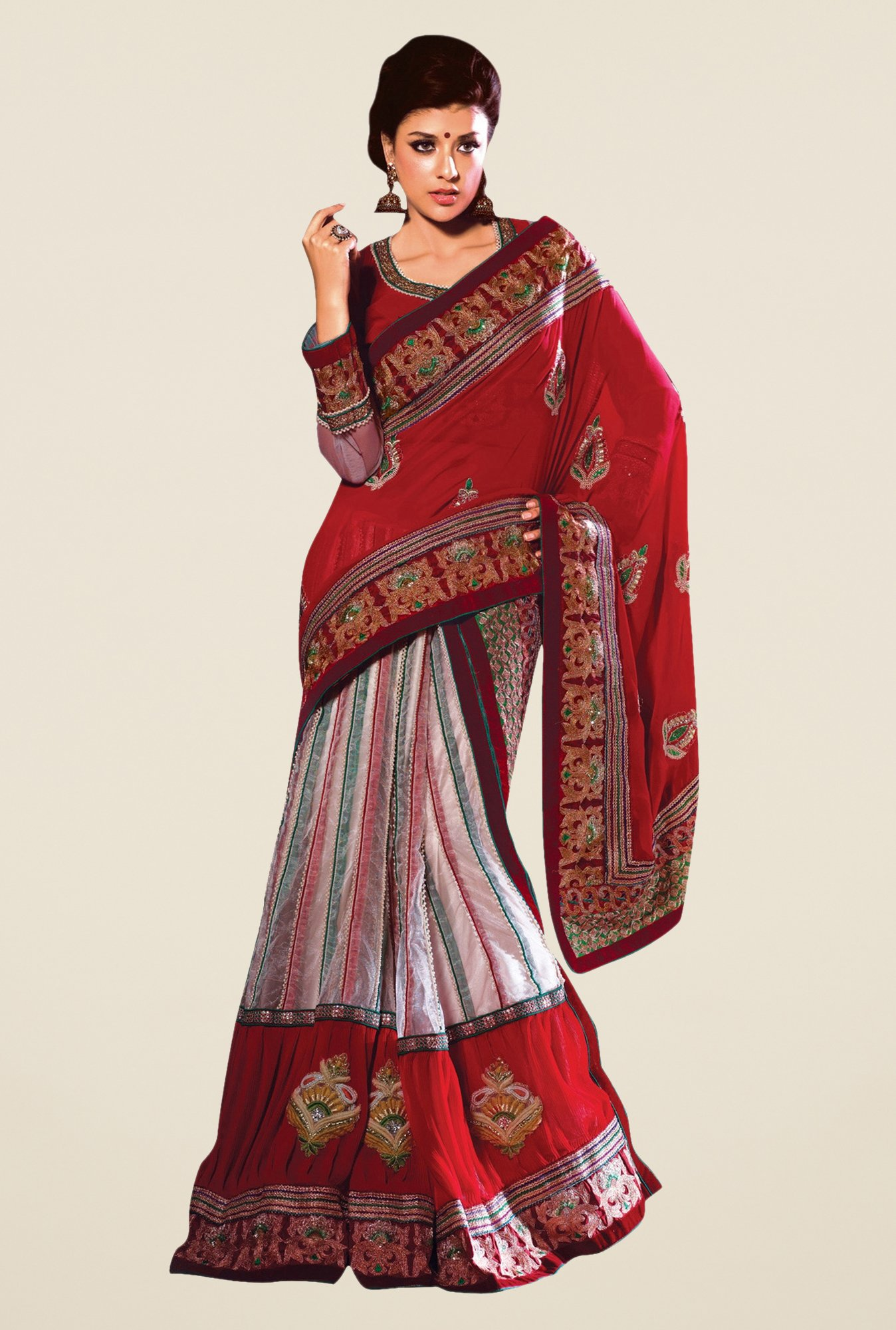 Triveni Luxurious Multicolor Georgette Net Saree
