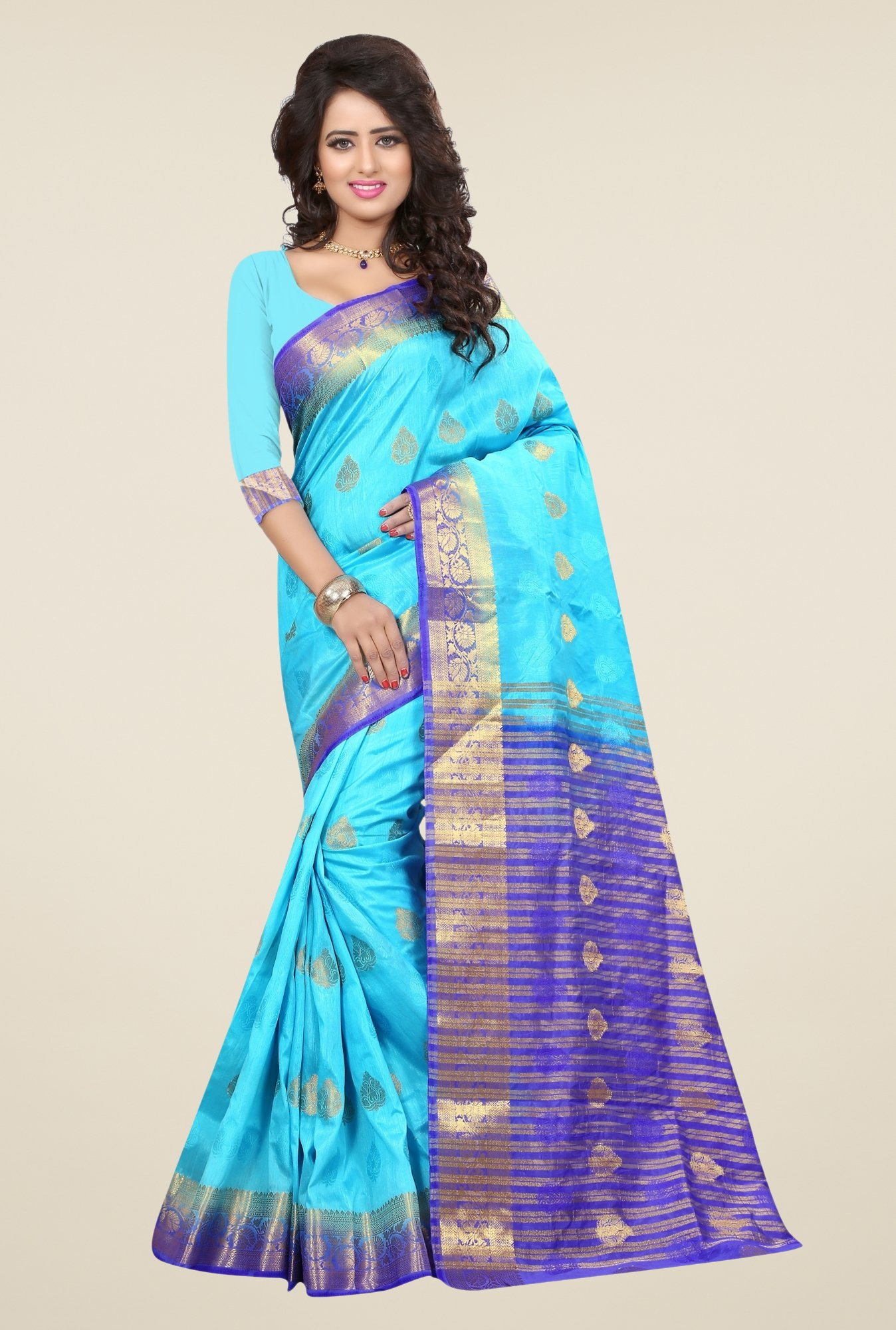 Triveni Charming Sky Blue Nylon Art Silk Saree