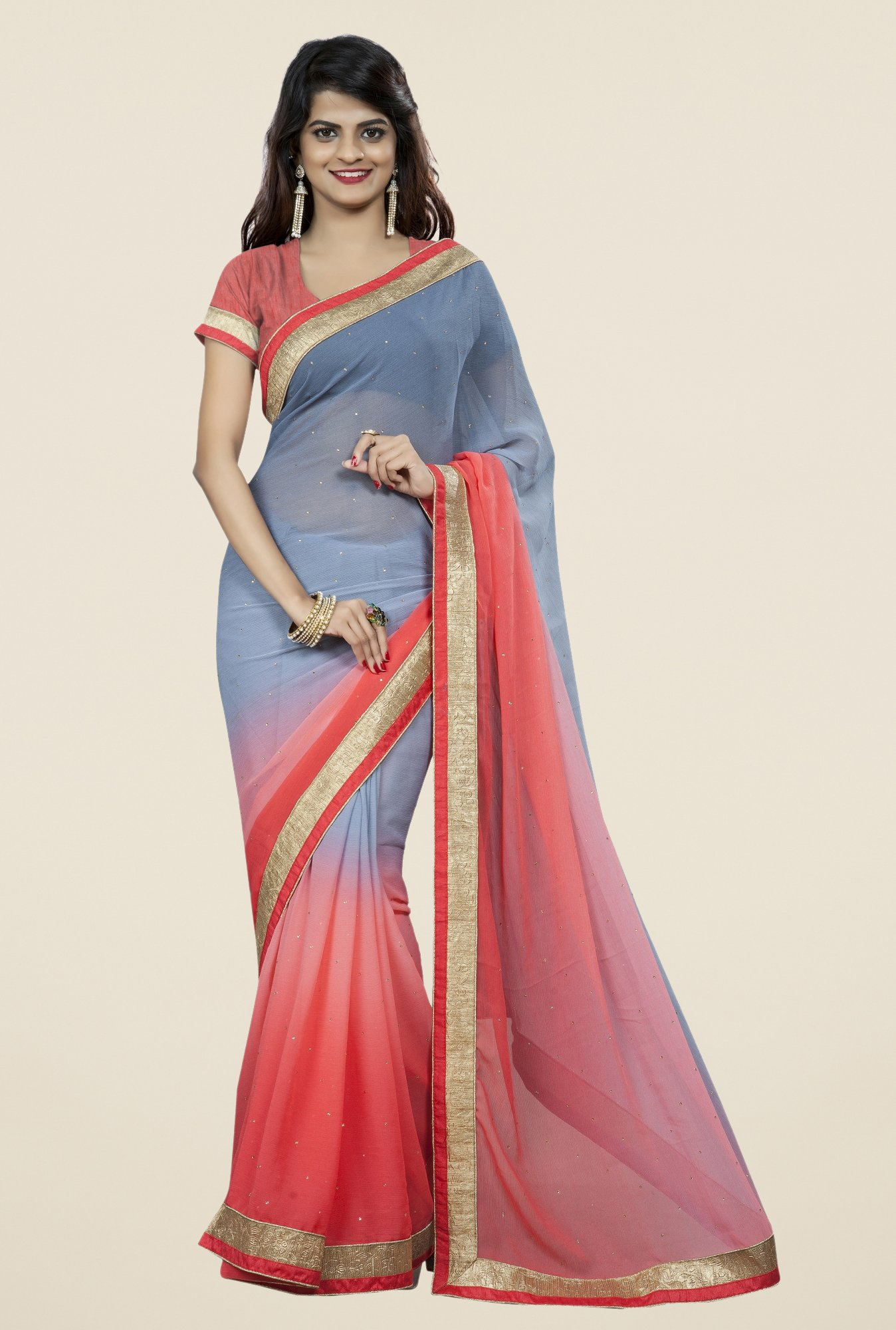 Triveni Delightful Grey & Peach Chiffon Saree