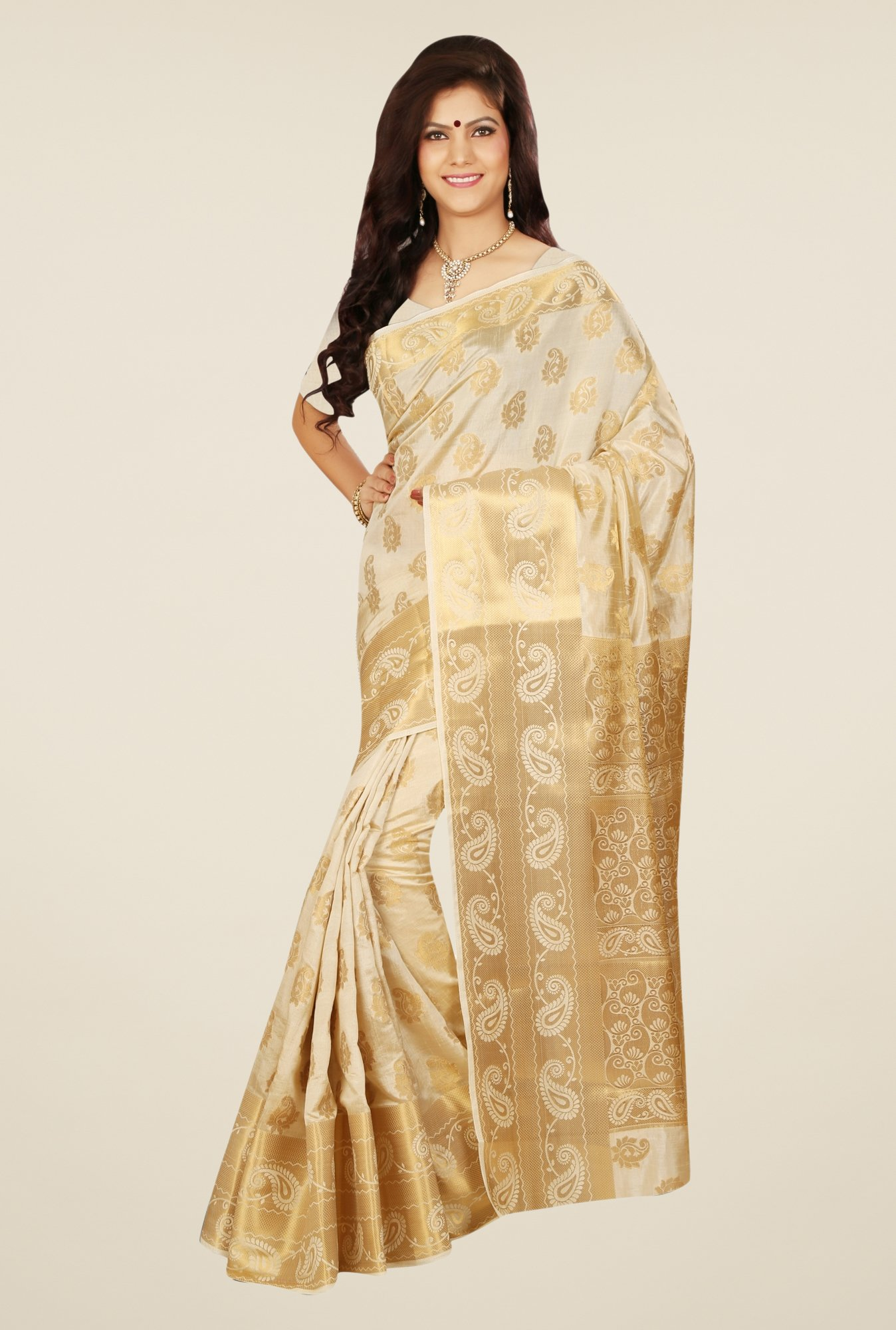 Triveni Charming Cream Tussar Silk Saree