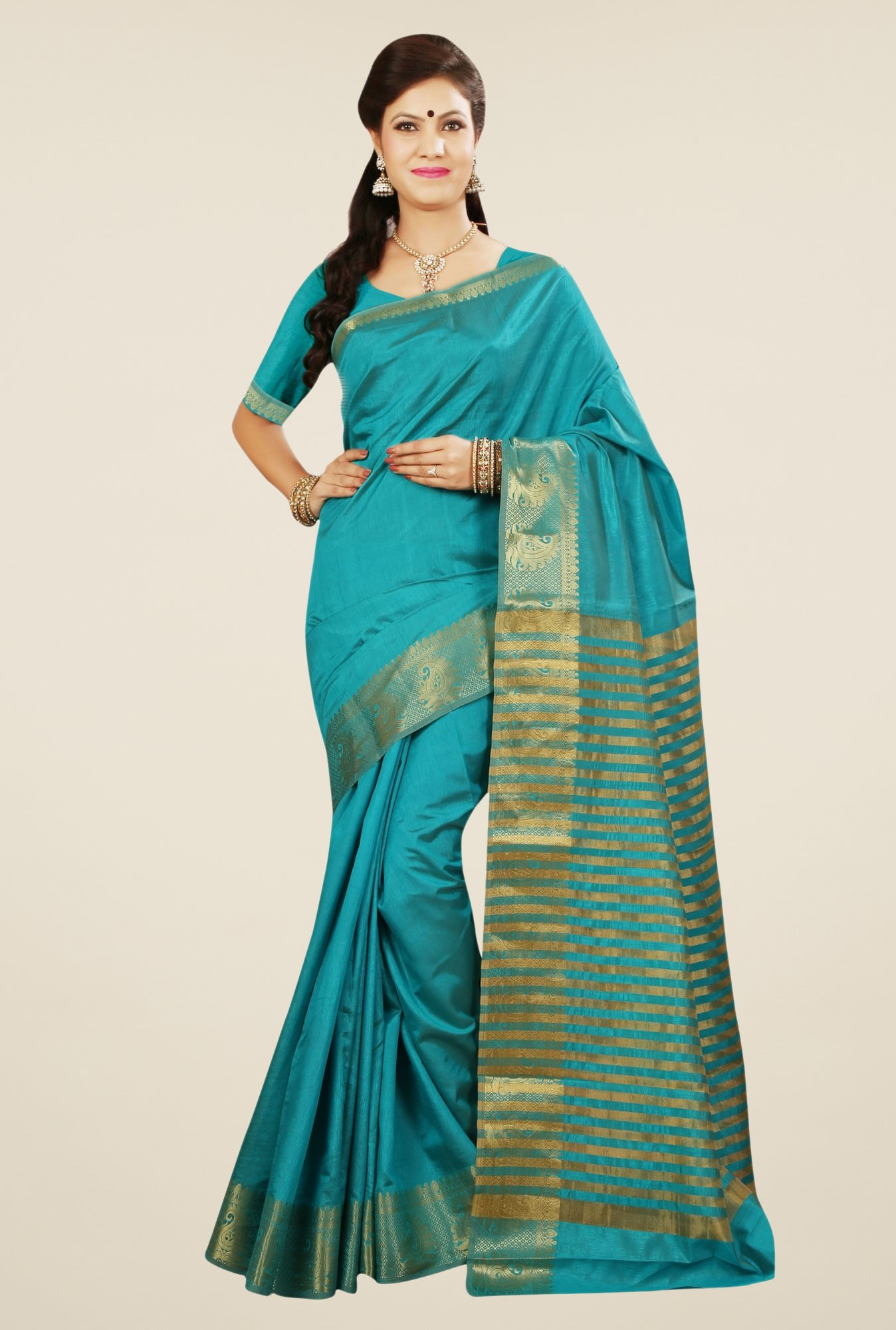 Triveni Attractive Teal Tussar Silk Saree