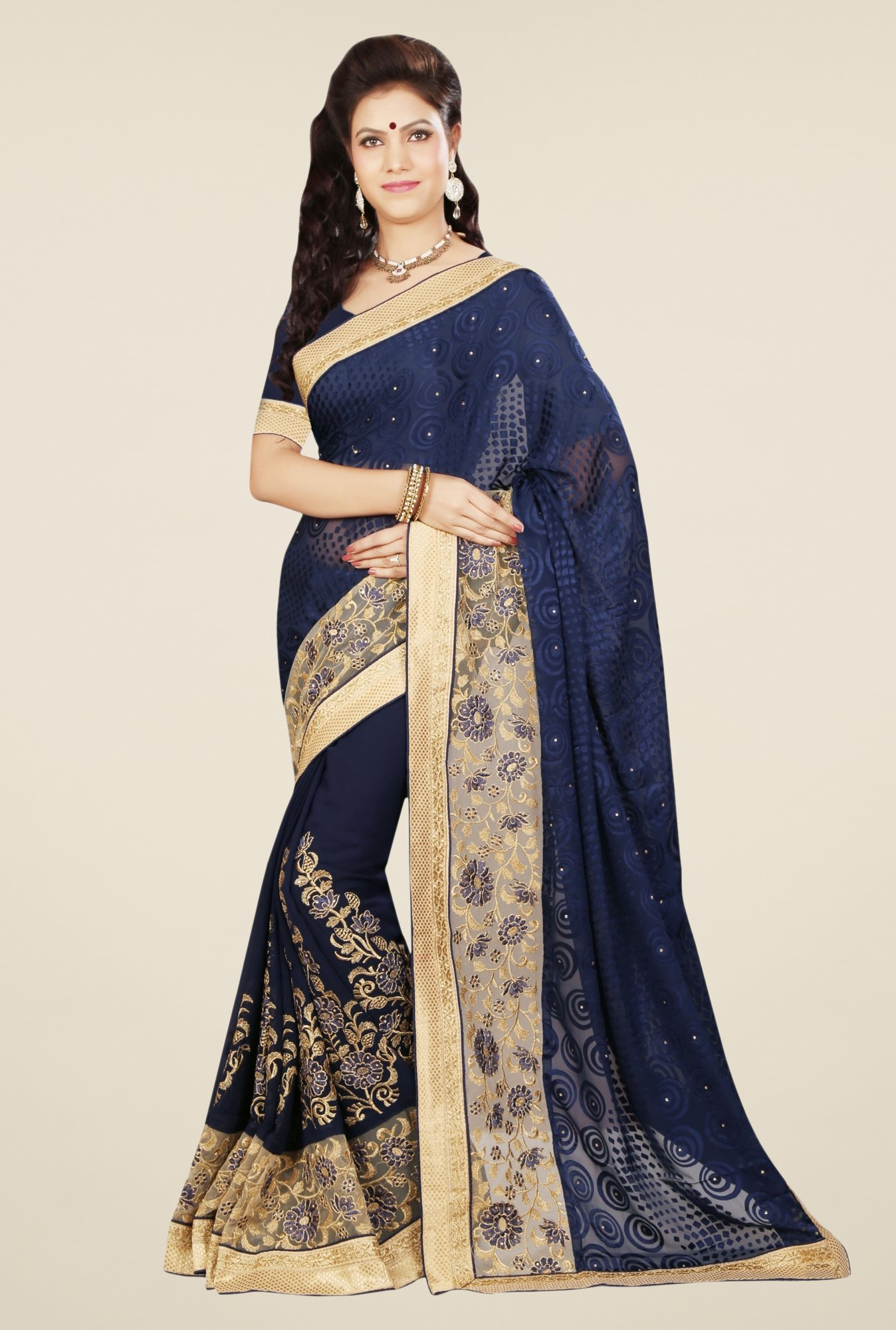 Triveni Cute Navy Brasso Georgette Saree