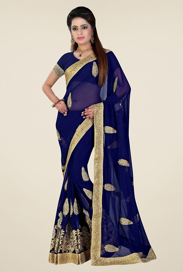 Triveni Mesmerizing Navy Faux Georgette Saree