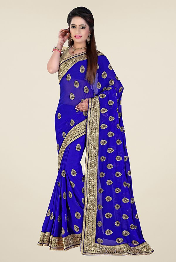 Triveni Splendid Blue Faux Georgette Saree