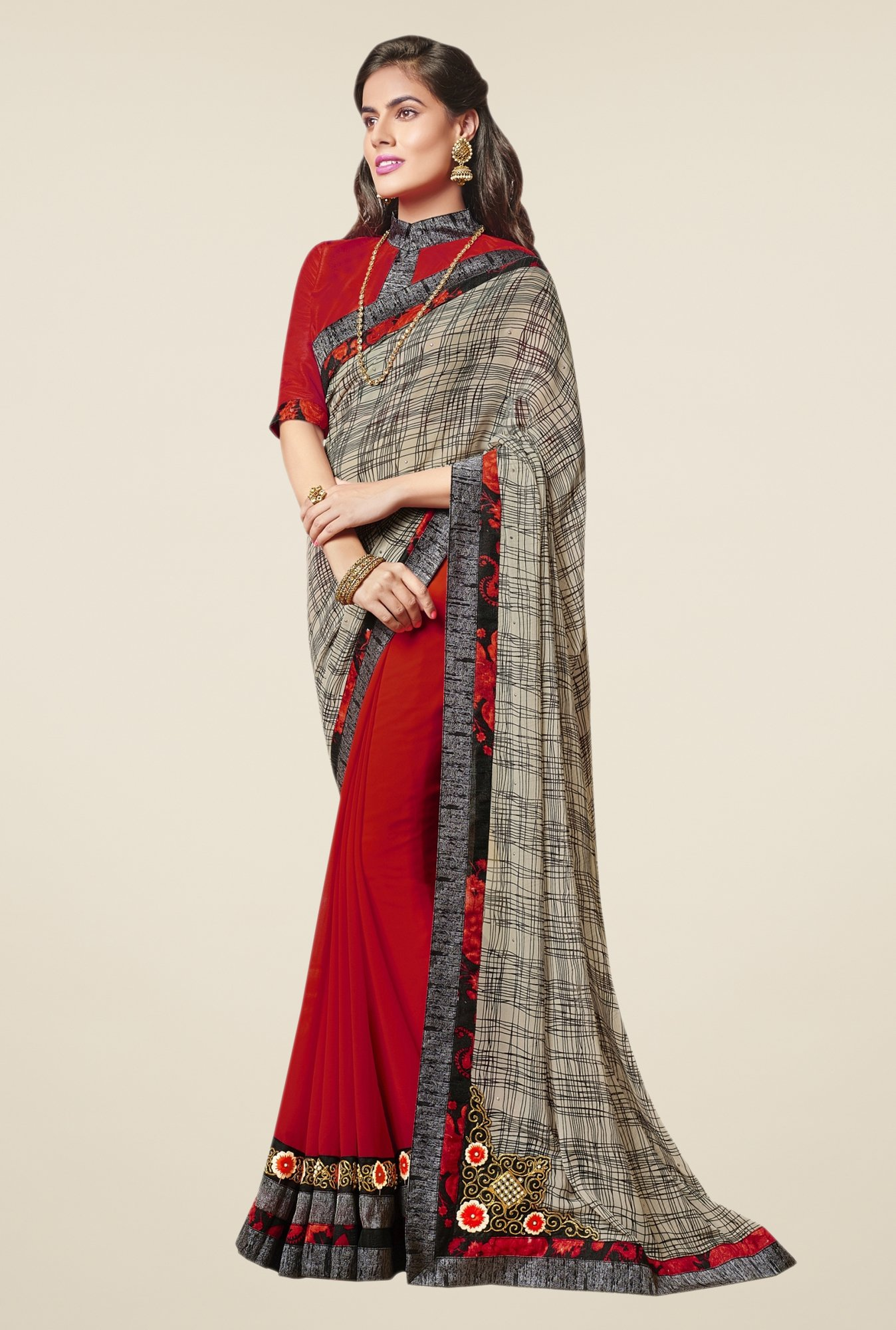 Triveni Fanciful Maroon & Beige Faux Georgette Saree