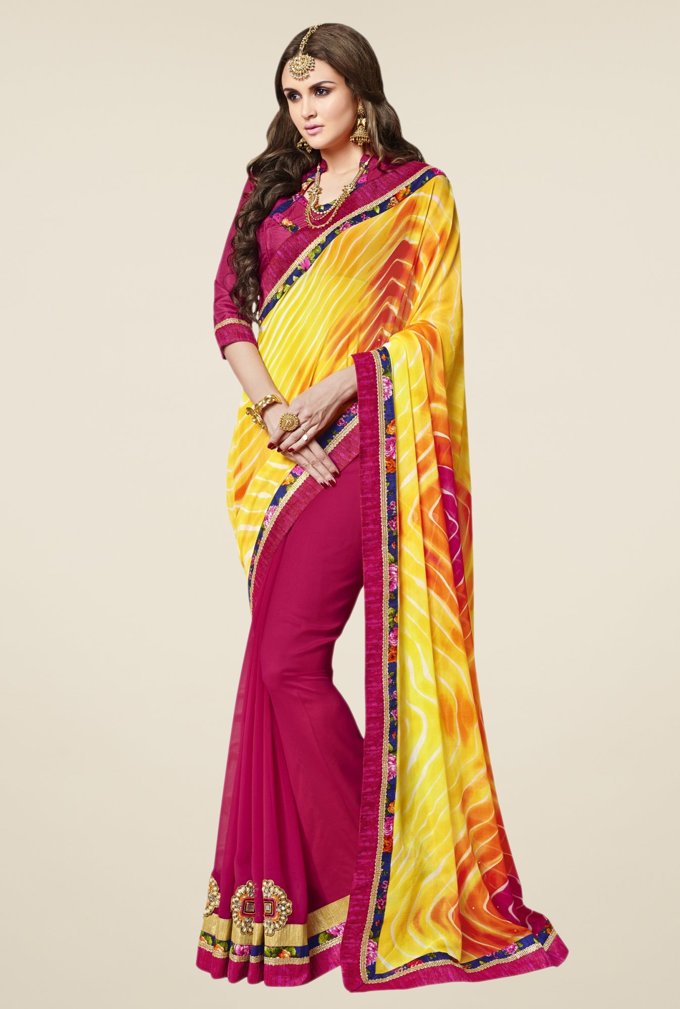Triveni Amiable Magenta & Yellow Faux Georgette Saree