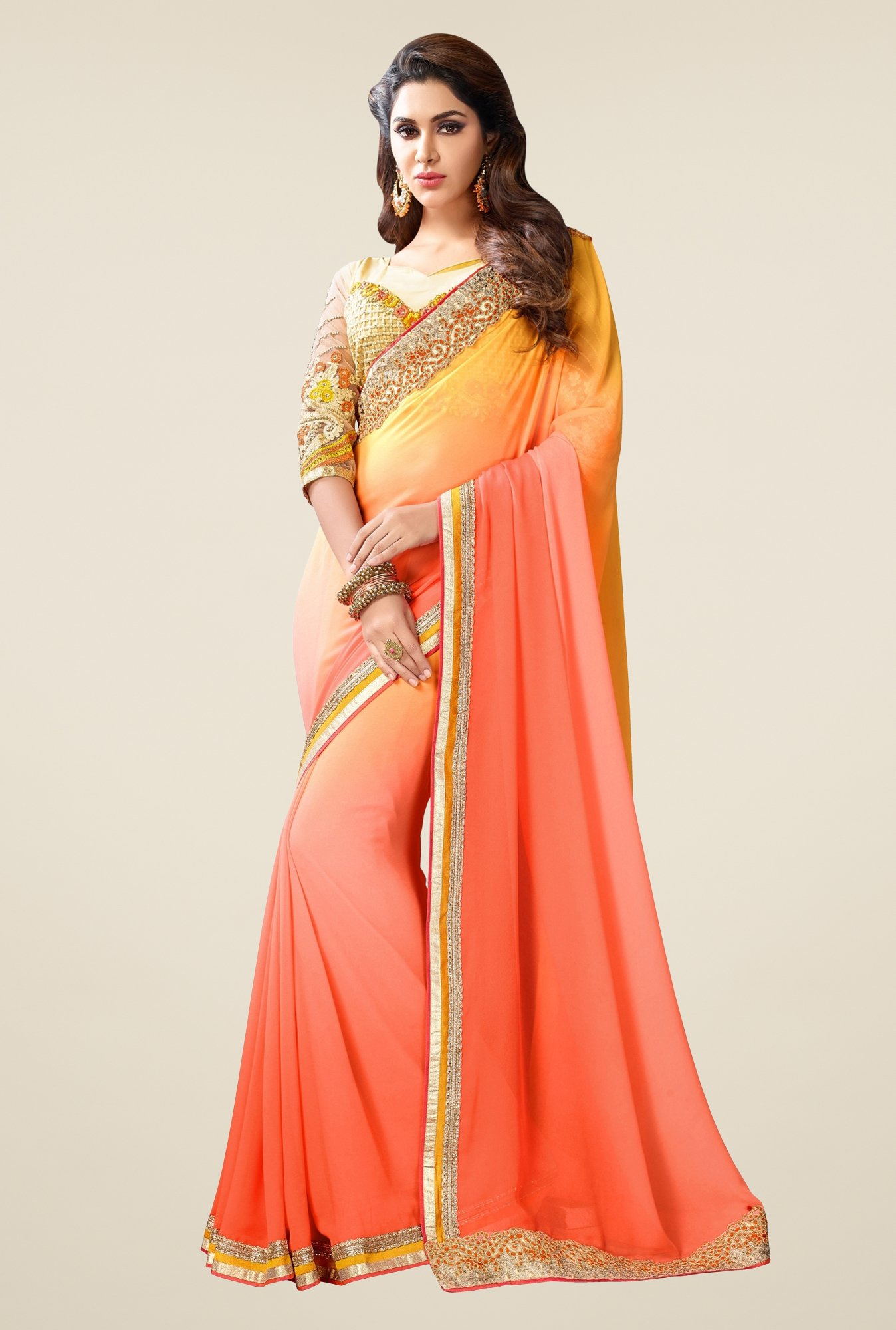 Triveni Pretty Peach Bamber Georgette Saree